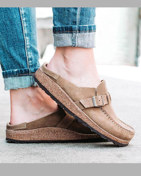 Suede Belt Strap Slippers