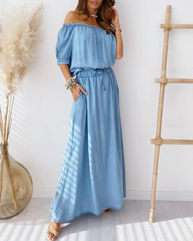 Off Shoulder Frill Hem Top & Maxi Skirt Sets