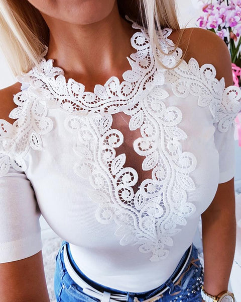 Floral Lace Patchwork Solid Tops