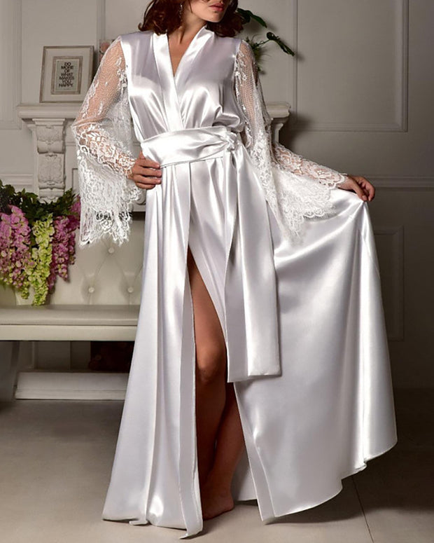 Lace Trim Long Sleeve Knotted Robe