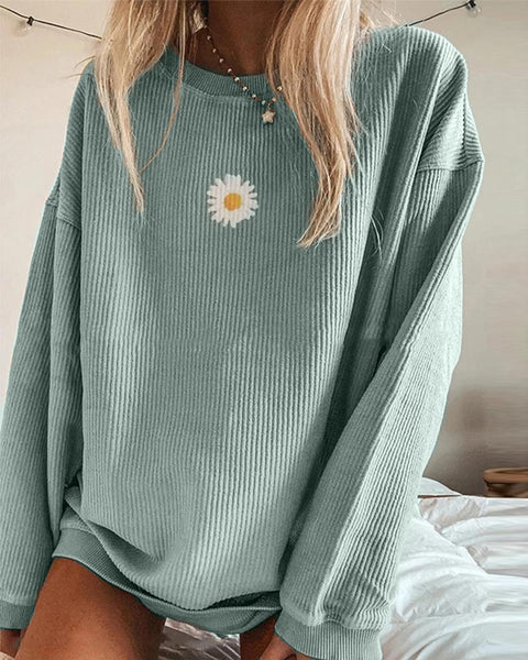 Ribbed Daisy Print Oversized Sweatshirt