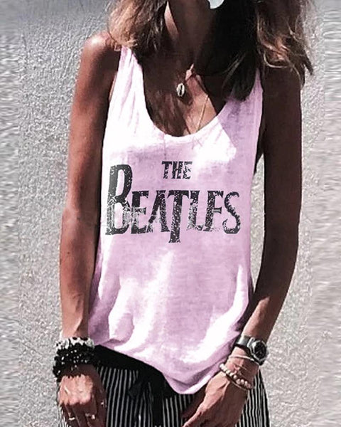 Print O-Neck Brief Sleeveless T-Shirt