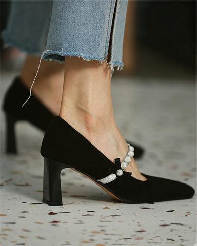 Solid Round-toe Suede leather Spool Heels