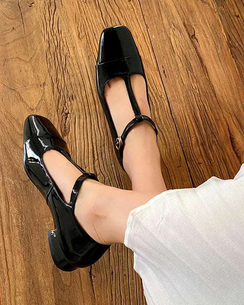 Polished Square Toe Mary Janes
