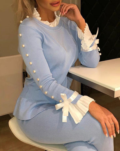 Bowknot Beaded Buttoned Bell Cuff Sweater