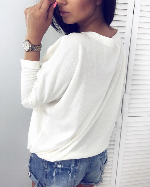 Splicing V Neck Long Sleeve Casual Blouse