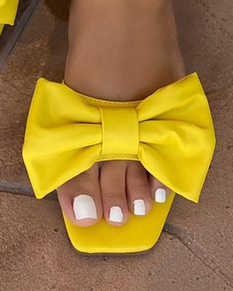 Square Toe Bowknot Design Solid Flat Sandals