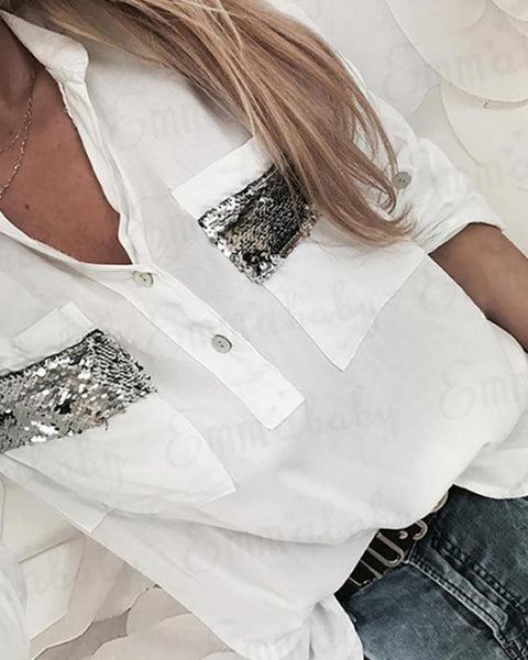 Contrast Sequins Dual Pocket Casual Blouses