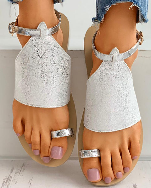 Glitter Toe Ring Anke Strap Flat Sandals
