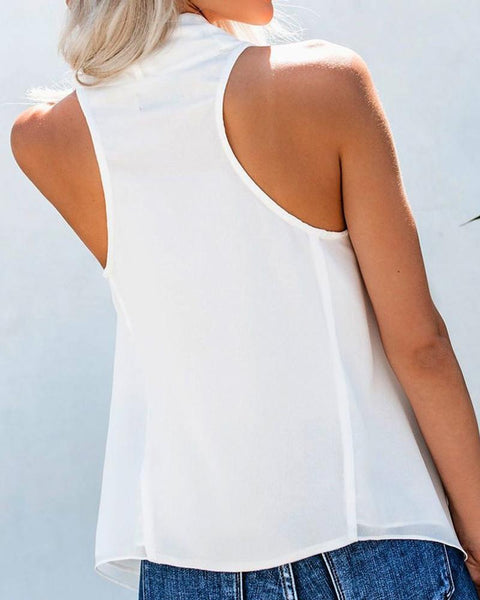 Brief Sleeveless Chiffon Blouse Top