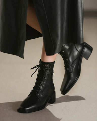 Square-toe Lace-up Martin Boots