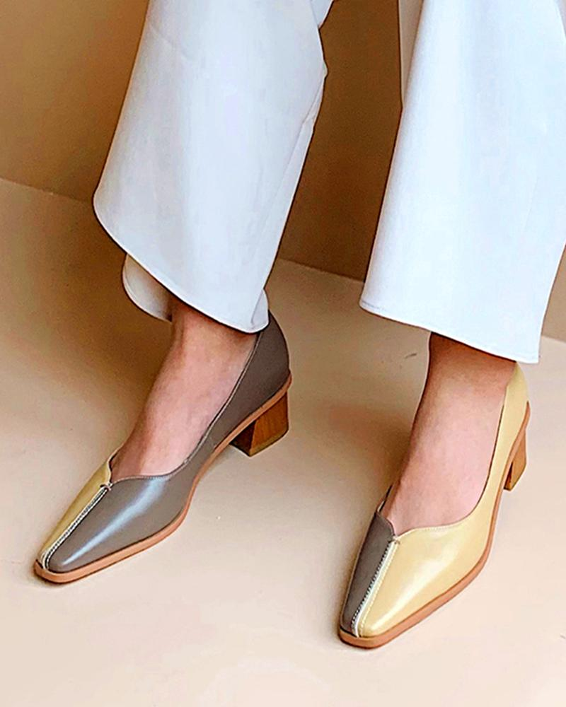 Square Toe Block Heel Loafers