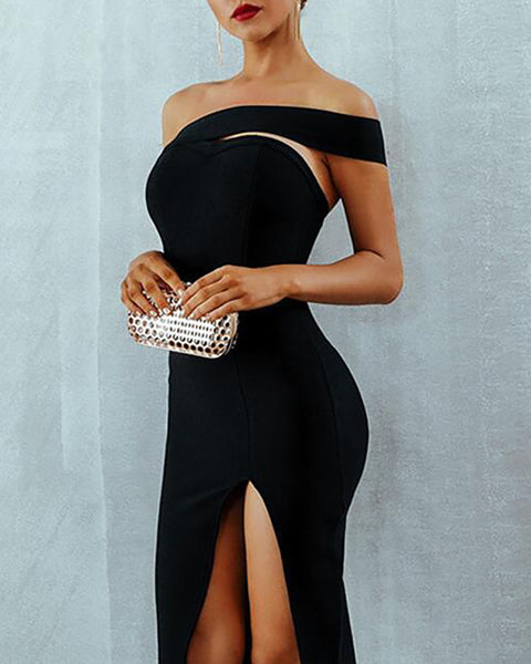 One Shoulder Slit Party Dress