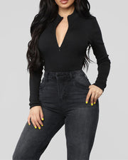 Solid Zip Front Bodysuit