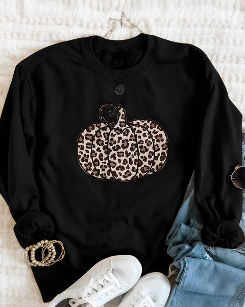 Cheetah Pumpkin Pattern Print Long Sleeve Sweatshirt