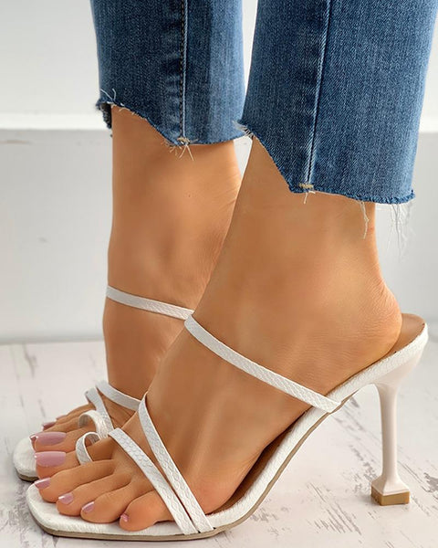 Toe Ring Thong Strappy Mule Pyramid Heel