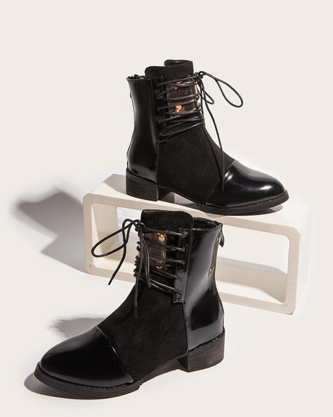 Colorblock Block Heel Lace-up Round-toe Martern Boots