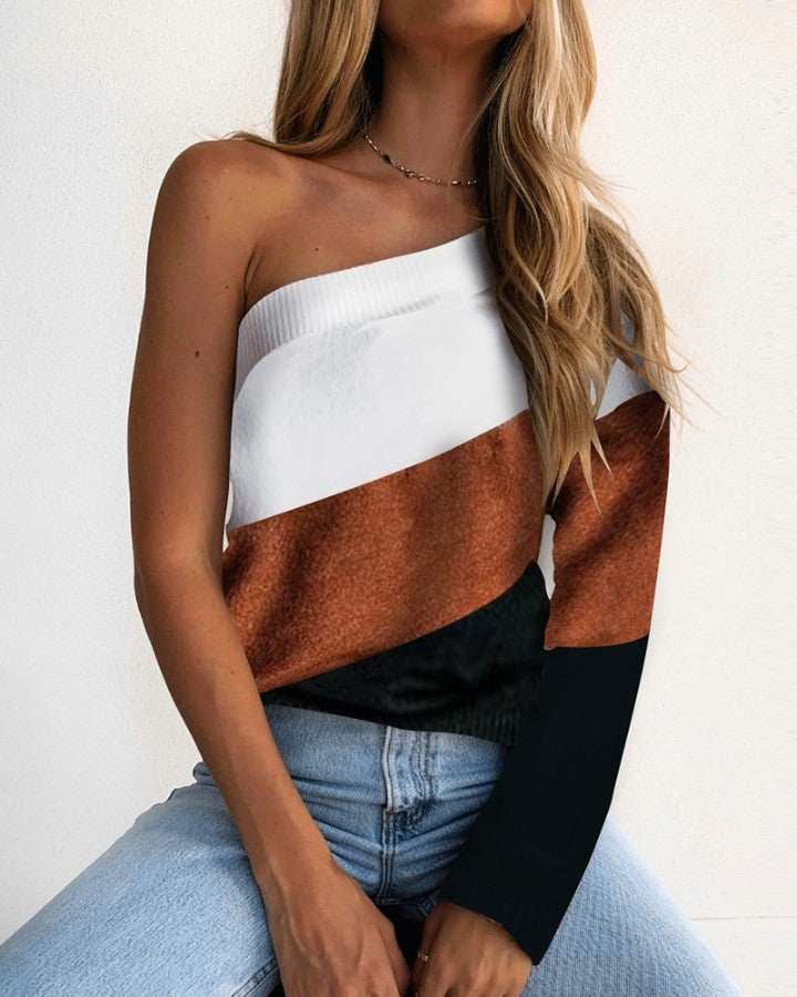 One Shoulder Knit Colorblock Long Sleeve Sweater