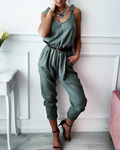 Tied Strap V-Neck Casual Jumpsuit