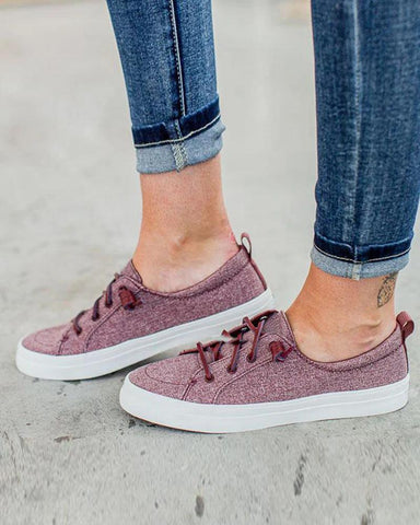 Solid Flat Heel Lace-Up Sneakers