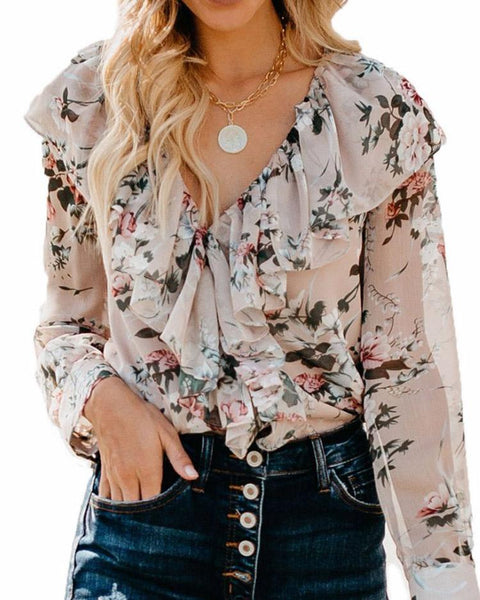 Ruffle Detail Long Sleeve Floral Blouse