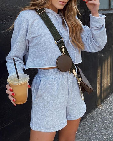 Hooded Long Sleeve Solid Top & Short Set