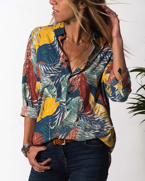 Turn-down Collar Leaf Printed Casual Shirt
