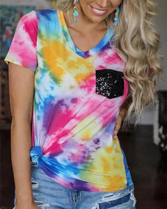 Tie Dye Contrast Pocket T-Shirt