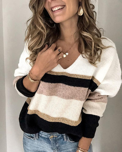 Brief Colorblock Striped V-neck Sweater