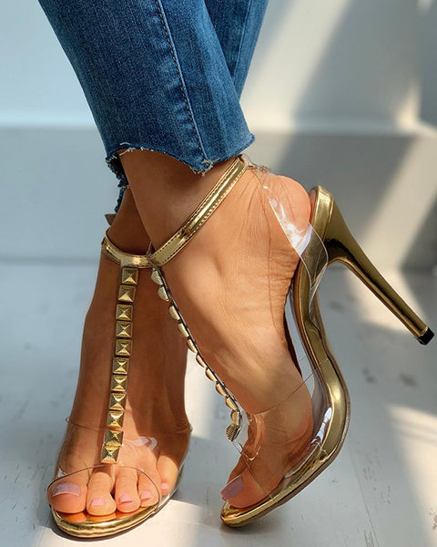Transparent T-Strap  Ankle Buckled Stiletto Heel