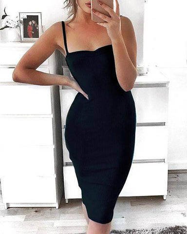 Spaghetti Strap Solid Bodycon Dress
