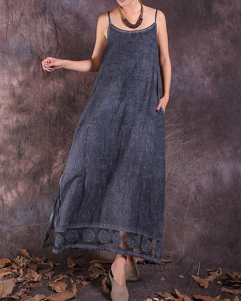 Linen Lace Trim Maxi Dress