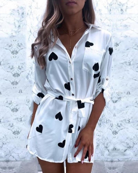 Brief Single-breasted Shirt Dress