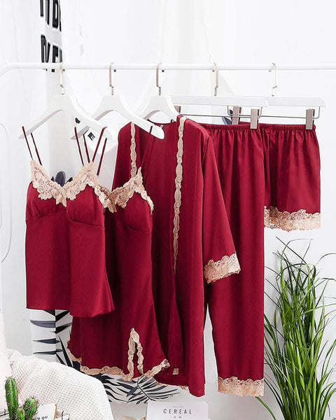 Comfy Ice Slik Five-piece Cami Pajamas Sets
