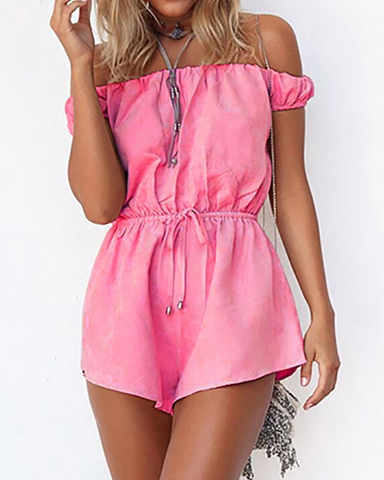 Hot Slash Neck Shirring Drawstring Romper