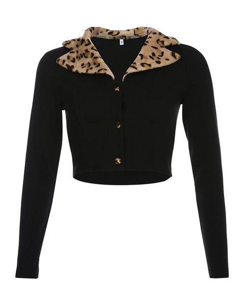 Leopard Collar V-Neck Cardigan