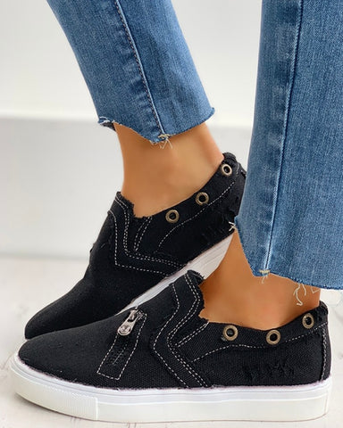 Eyelet Zipper Design Slip On Sneakers