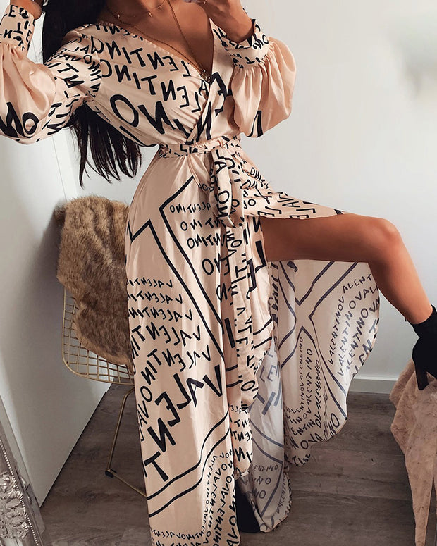 Letter Print Lantern Sleeve High Slit Maxi Dress