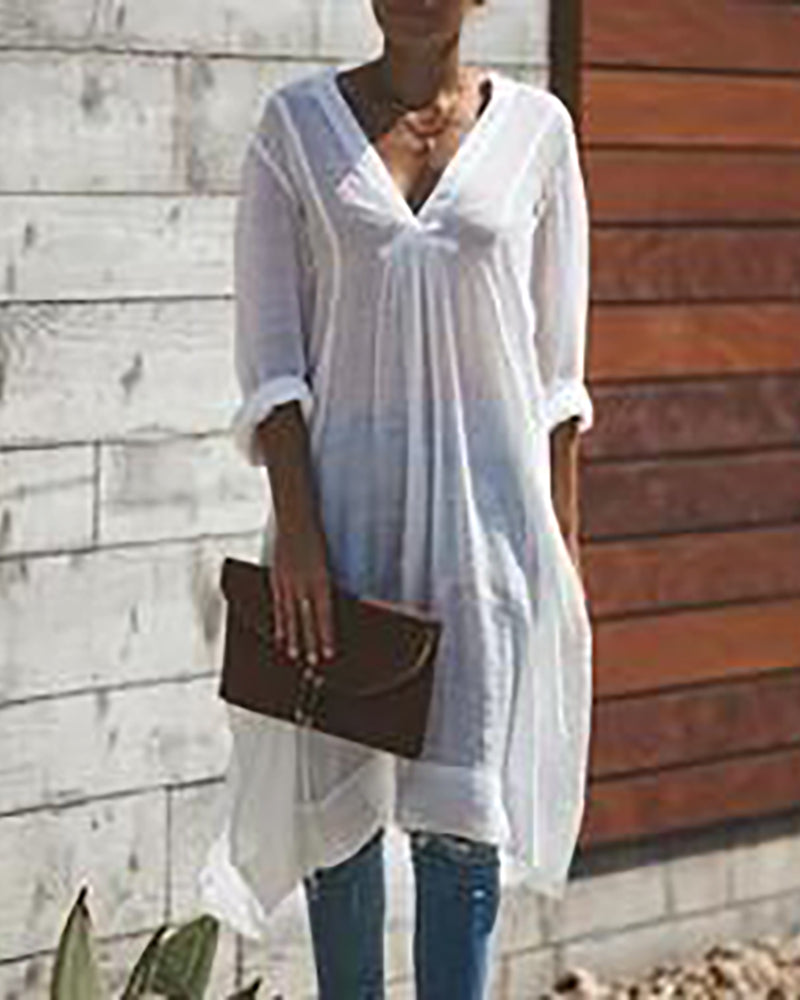 Casual Long Sleeve Cover Up Dress