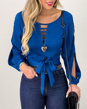 Tie Front Cut Out Top