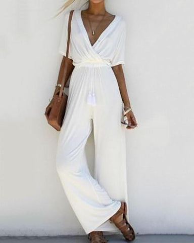 Deep V High Waist Wide Leg Jumpsuit