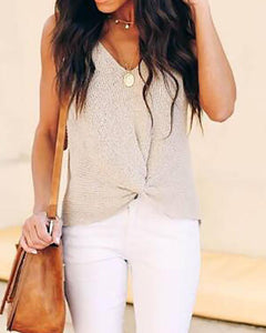 V-Neck Twist Detail Knitted Top