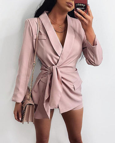 Solid Long Sleeve Loose Suit Coats Shorts Suit Sets