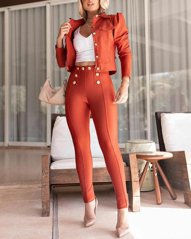 Solid Color Puff Sleeve Jacket Suit Sets