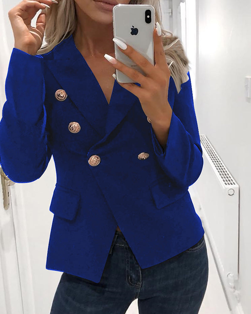 Solid Double-Breasted Blazer