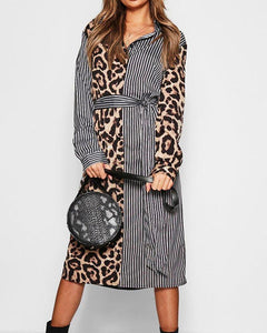 Leopard Splicing Long Sleeve Lace-up Wasit Shirt Dress