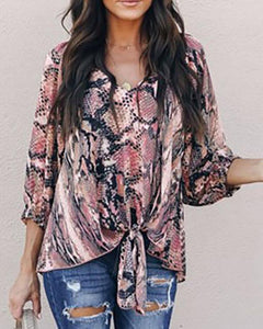 V-Neck Snake Print Tied Front Top