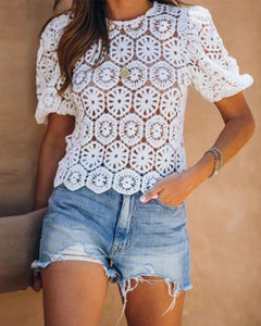 Round Neck Crochet T-Shirt
