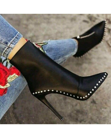 Fashion Design Studded Heeled Boots