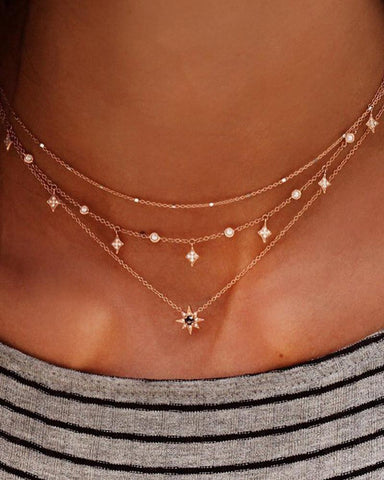 Vintage Bohemian Star Pendant Multilayer Necklace